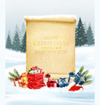 holiday christmas background with santa hat and a vector image