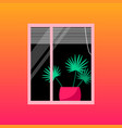 home palm tree in window with blinds vector image