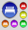 Hotel bed icon sign Round symbol on bright vector image vector image