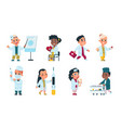 kids doctors cute cartoon characters playing vector image