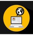 laptop social profile globe icon vector image vector image