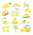 lemon desserts flat isolated vector image