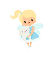 little tooth fairy holding cute batooth lovely vector image vector image