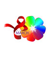 march 8 womens day greeting in cartoon style with vector image