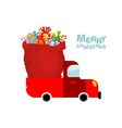 Merry Christmas Machine carries bag of gifts Car vector image vector image