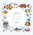 ocean tropical exotic round card vector image