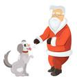 santa claus playing with dog santa with pawing vector image vector image