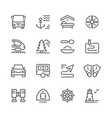 set line icons travel vector image vector image