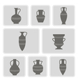set of monochrome icons with antique amphoras vector image