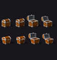 set old pirate chests cartoon style vector image