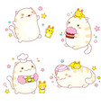 set stickers with cute friends - cat and rabbit vector image vector image