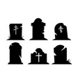 spooky graves on white background vector image