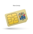 State of New Jersey phone sim card with flag vector image vector image