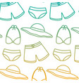swimsuits short bikini and hat vacation beach vector image vector image