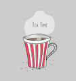 tea time striped cup with hot drink vector image vector image