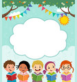 template with children reading book vector image vector image