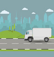 truck driving on the road cargo transportation vector image