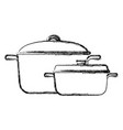 two saucepans with handle kitchen equipment vector image