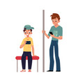 two teenagers boys sitting and standing in subway vector image vector image