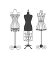 Vintage Mannequin or Dummies Black Silhouette vector image