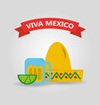 viva mexico hat and glass tequila and lemon banner vector image vector image