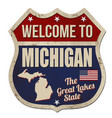 welcome to michigan vintage rusty metal sign vector image