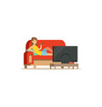 young woman sitting on a sofa in a living room and vector image vector image