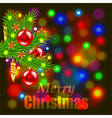 Merry Christmas and fir-tree branch vector image