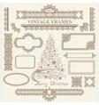 christmas vintage elements set vector image