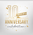 10th anniversary celebration golden template vector image