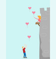 a man with heart balloon and girl on tower castle vector image vector image