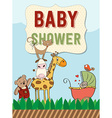 Beautiful baby shower card vector image vector image