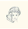 Beauty woman face with long wavy hair Lines vector image vector image