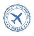 blue stamp with ankara turkey and aircraft symbol vector image