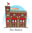 building for fireman fire station facade vector image