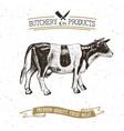 butcher shop vintage emblem beef meat products vector image