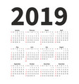 calendar 2019 year design template simple vector image