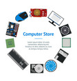 cartoon pc components for computer store banner vector image vector image