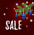 christmas sale tag with blue balls on red vector image vector image