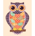 Colored patchwork owl vector image vector image