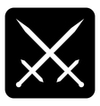 Crossed swords button vector image vector image