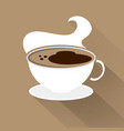 cup of coffee top view flat style with shadow vector image vector image