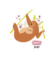 cute sloth family hanging on tree baby vector image vector image