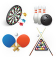 darts bowling table tennis and pool billiards vector image