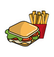 delicious sandwich with tasty fries french vector image vector image