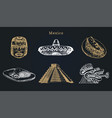 drawn set of famous mexican attractions vector image vector image