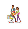 family buying food in grocery store cartoon vector image