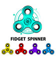 five colorful fidget spinners and text info vector image