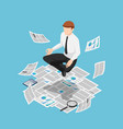flat 3d isometric businessman doing meditation vector image