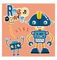 funny robot dance cartoon vector image